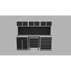 Garageinredning bänk, vagn, verktygstavla & överskåp