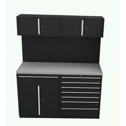 Garageinredning bänk, verktygstavla, överskåp & underskåp