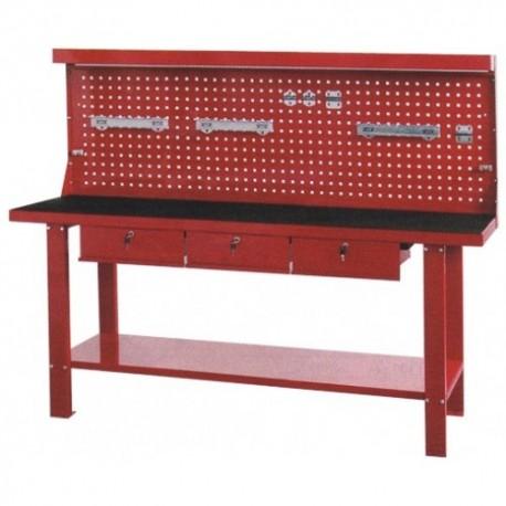 Arbetsbänk i 2,5mm plåt med 3 stk låsbara lådor, verktygstavla och gummimatta